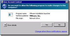 "User Account Control consent dialog showing VMware, Inc. as ""Verified publisher"""